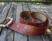 Tooled Leather Vintage Belt With Brass Buckle Butterflies, Flowers and Mushrooms