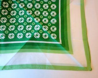 Vintage Green White Dot Scarf Geometric Square 1960s St Patricks Day Gift under 10
