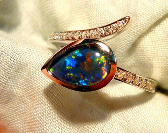 Opal Ring Ladies Sterling Silver 925 & CZ, 9x6mm Teardrop Triplet. item 100905.