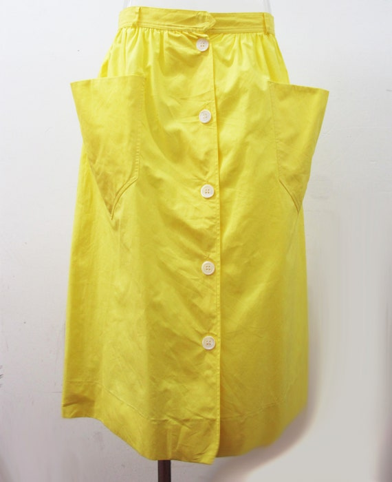 vintage c 233 line buttercup yellow a line skirt with of