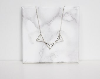 Himmeli inspired geometric bunting necklace. Silver or gold tone