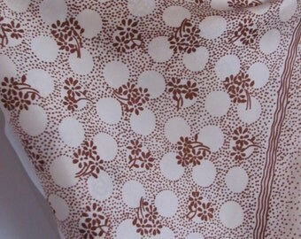 """Small Off White Ivory Brown Soft Acetate Scarf 20"""" Square"""