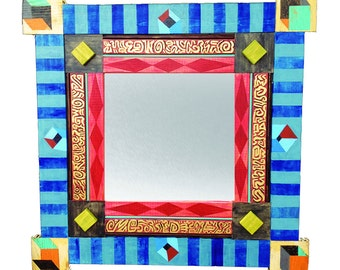 Framed Decorative Mirror - Cubes and Squares