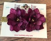 Deep purple floral headband