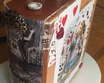 Cigar Box Purse - Classical Alice in Wonderland Cigar Box Purse