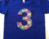 Building Bricks birthday shirt short sleeve indigo blocks red yellow blue green primary colors any age number 1 2 3 4 5 6 7 8 9 birthday