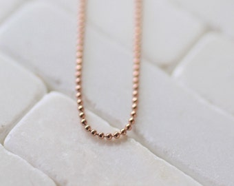 Rose Gold Necklace - Rose Gold Ball Chain - Ball Chain Necklace - Delicate Necklace - Gold Ball Chain - Ball Chain - Necklace In Rose Gold