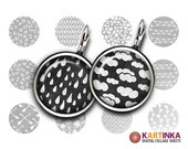 PATTERNS on CHLKBOARD 15mm & 12mm size images Printable Download for Earrings, Cuff links, Pendants, Crafts, Rings, Bottle Caps, Bracelets