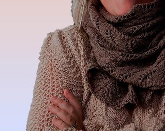 "Lace Scarf for women/ladies ""Gabriola Island"", hand knit in luxurious pure Qiviut (Muskox underdown) - MADE TO ORDER"