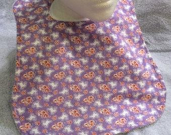 Baby Bib - Purple Bunnies (Exclusive pattern!) 6-12 month
