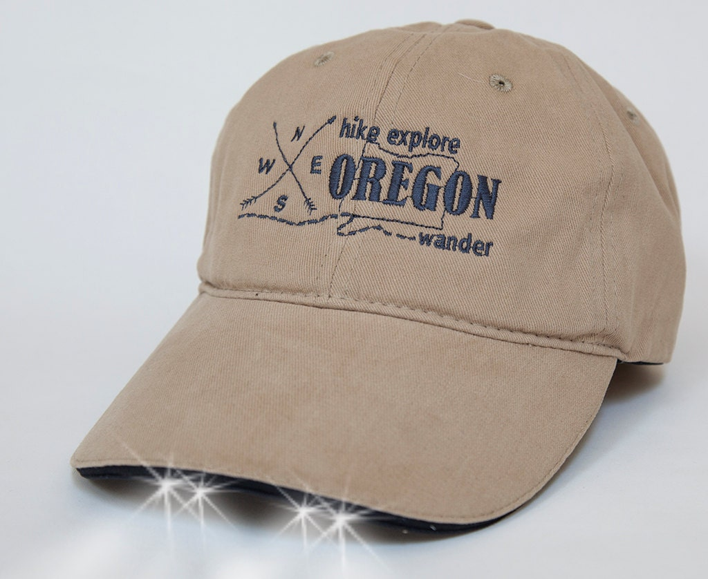 home state of oregon baseball hat with built in flashlight