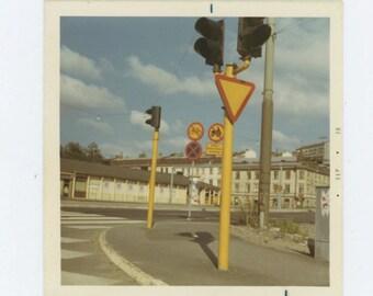 Street Corner, Sweden, 1970 Vintage Snapshot Photo (67484)