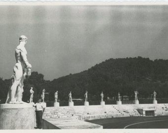Man Impressed by Stature of Athlete, Foro Italico, Rome Olympics, 1950s-60s: Vintage Snapshot Photo (511429)