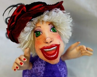 Red Hat Society Cloth art doll fantasy pincushion