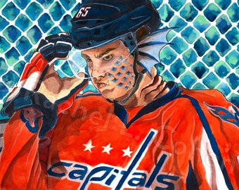 Washington Capitals Andre Burakovsky Burracuda Barracuda NHL Hockey 12x18 Print of Original Illustration