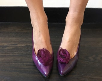 Vintage Plum Pumps w/ Floral Toe Castañer Spain