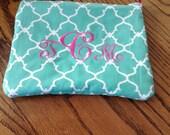 Aqua quatrefoil cosmetic bag includes monogram, Zipper pouch,Makeup bag,great gifts for Bridesmaids,Grads,Valentines