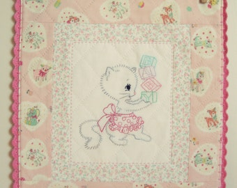 sweet baby kitty wall quilt