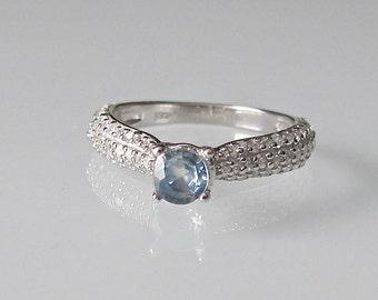 Blue Sapphire Promise Ring- Prong Engagement Ring- September Birthstone Ring- Anniversary Ring- Stone Ring- CZ with Sapphire Ring- Solitaire