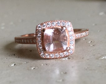 Square Morganite Halo Engagement Ring- Pink Stone Ring- Square Ring for Her- Silver Ring- Ring- Gemstone Ring- Promise Rings