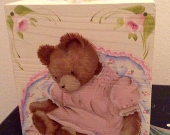 Hand Painted kleenex tissue box cover Teddy Bear and roses, for baby room, baby shower gift, baby girl, shabby chic one of a kind