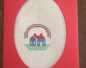 Cross stitch home blank greeting card