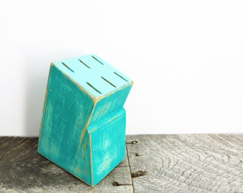 Small Knife Block - Modern Shabby Chic - Teal and Tuquoise - Kitchen Decor