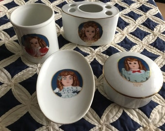 """RARE find; Girl's """"Joanna"""" 4 Piece Ceramic Bathroom Set, Made in Japan: Cup, Toothbrush Holder, Soap Dish, Trinket Box"""
