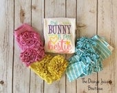 The Bunny is my Bestie embroidered ruffle shirt-easter ruffle shirt-M2M Sew Sassy light pink- m2m Sew Sassy cyan- m2m sew sassy yellow