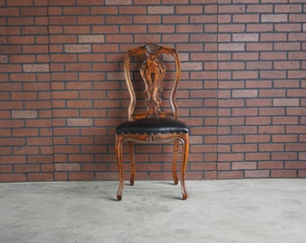 Antique French Chair / Desk Chair / Accent Chair / Vanity Chair / Splat Back Chair  Carved Chair