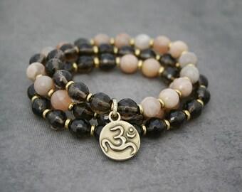 Beaded Stretch Bracelet - Yoga Bracelet - Triple Wrap - Smoky Quartz and Sunstone with Om Charm
