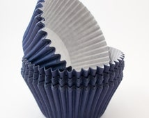 Navy cupcake liners (approx 40 ct) - Solid Color baking muffin cups greaseproof bulk cupcake papers