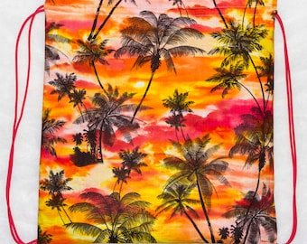 Palm trees and sunset drawstring backpack cinch bag
