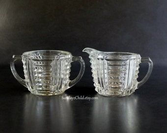 Anchor Hocking Sugar and Creamer Set - Vintage Clear Glass AHC34 - Ribbed and Laddered - Horizontal Vertical Geometric