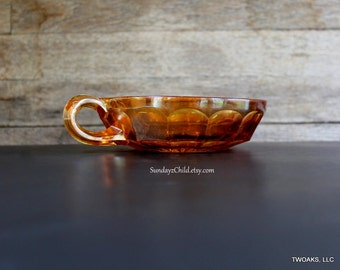 Amber Carnival Glass Single Handled Nappy Bowl - Vintage Berry Bowl - Condiment or Candy Dish