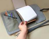 Leather sketchbook case with pen holder and cross body strap, Personalized leather journal, Artist portfolio