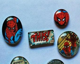 Spiderman Fridge Magnets-Superheros-Glass fridge magnets-Set of 6-Handmade magnets-kitchen decor-locker decor-comic book magnets