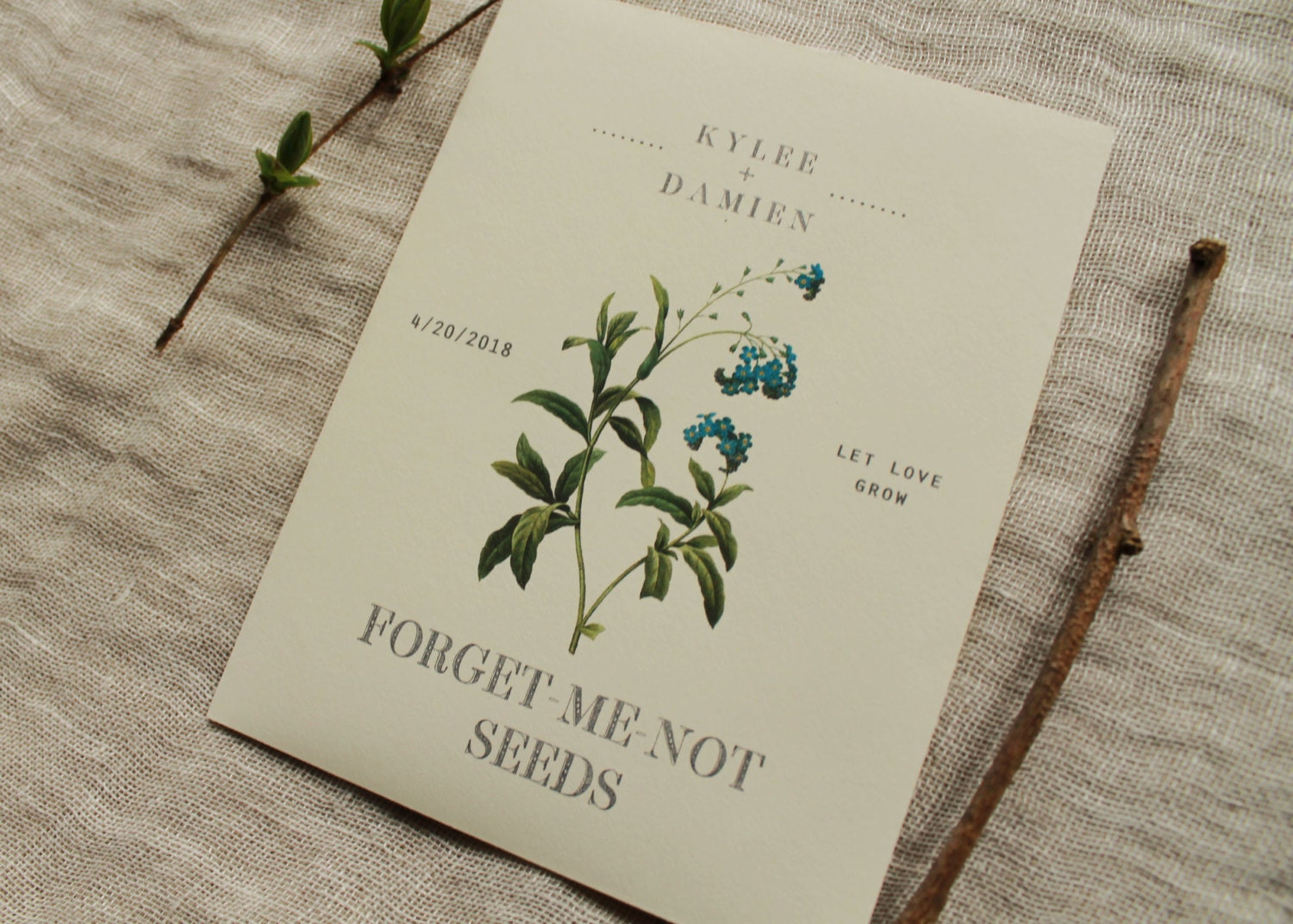 forget me not seed envelope favor seed packet by. Black Bedroom Furniture Sets. Home Design Ideas