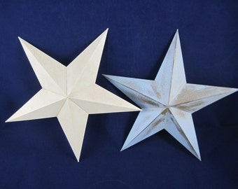 """2 Tin Star Wall Hangers, White and Pastel Blue, 12"""" Patriotic, Childs Room"""