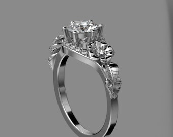 14KT White Gold  Moissenite Floral Engagement Ring with  Diamonds