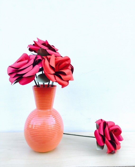 Red paper flowers, red roses, anniversary gift, paper flower bouquet