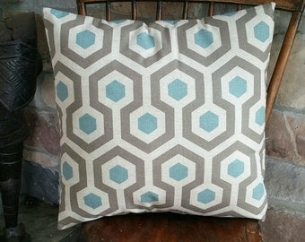 Natural, Taupe & Teal Mod Print Cotton Pillow Cover