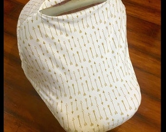 Nursing cover/car seat canopy cream and gold arrow car seat canopy, nursing cover, cart/highchair cover