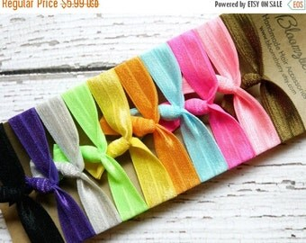 ON SALE 10% OFF 10 pcs Back to School Elastic Hair Ties Set - Assorted Color - Elastic Hair Ties - Gym/School/Sport/Yoga/Gift -Toddler to Ad