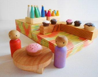 Waldorf wood peg doll cafe set juice bar bakery wood bottles muffins cakes pretend food box travel set