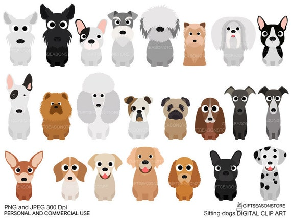 Sitting dogs digital clip art for Personal and Commercial use