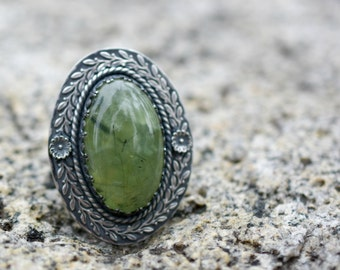 Prehnite Laurels Ring - Sterling Silver Statement Cocktail Ring - US Size 9 1/2 - Ready to Ship