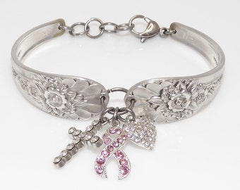 Satin Finish Handcrafted Spoon Bracelet Breast Cancer Faith, Hope and Love