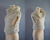 Cowl Knit Vest / Crochet Vest with Hood and Cowl / Thick Sweater vest for Women / Layering Winter Garment / Color Oatmeal / Winter Knitwear