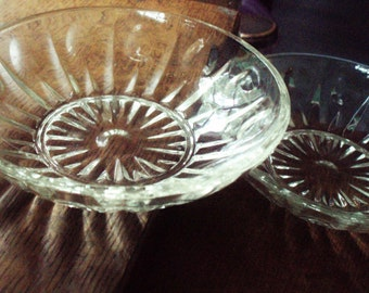 "Two 5 1/2"" Bowls Matching Set; Pair Depression Pressed Glass Dishes; Serving Vanity Jewelry Catch All; Antique Table Decor Small Centerpiece"